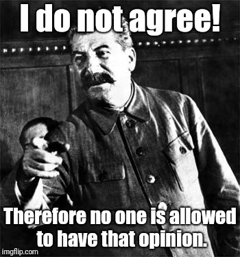Stalin | I do not agree! Therefore no one is allowed to have that opinion. | image tagged in stalin | made w/ Imgflip meme maker