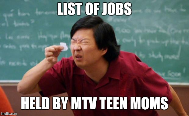 am i right or am i right? |  LIST OF JOBS; HELD BY MTV TEEN MOMS | image tagged in senior chang squinting,funny memes,teen | made w/ Imgflip meme maker