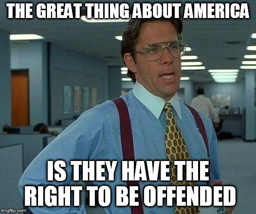 That Would Be Great Meme | THE GREAT THING ABOUT AMERICA IS THEY HAVE THE RIGHT TO BE OFFENDED | image tagged in memes,that would be great | made w/ Imgflip meme maker