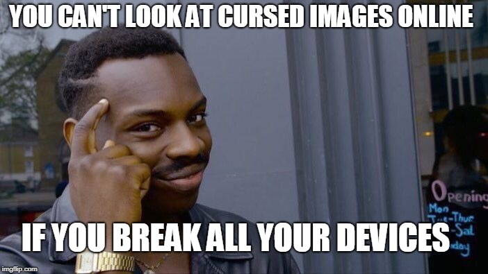 Roll Safe Think About It Meme | YOU CAN'T LOOK AT CURSED IMAGES ONLINE IF YOU BREAK ALL YOUR DEVICES | image tagged in memes,roll safe think about it | made w/ Imgflip meme maker