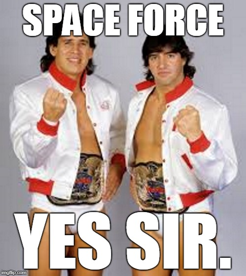 Space Force. Yes Sir. | SPACE FORCE YES SIR. | image tagged in space force,strike force,wwf,wwe,tito santana,rick martel | made w/ Imgflip meme maker