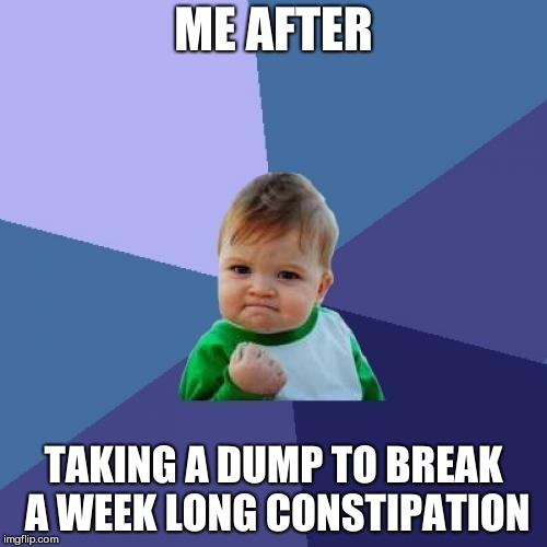 Success Kid | ME AFTER TAKING A DUMP TO BREAK A WEEK LONG CONSTIPATION | image tagged in memes,success kid,dump,constipation | made w/ Imgflip meme maker