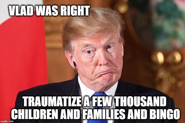 Trump dumbfounded | VLAD WAS RIGHT TRAUMATIZE A FEW THOUSAND CHILDREN AND FAMILIES AND BINGO | image tagged in trump dumbfounded | made w/ Imgflip meme maker