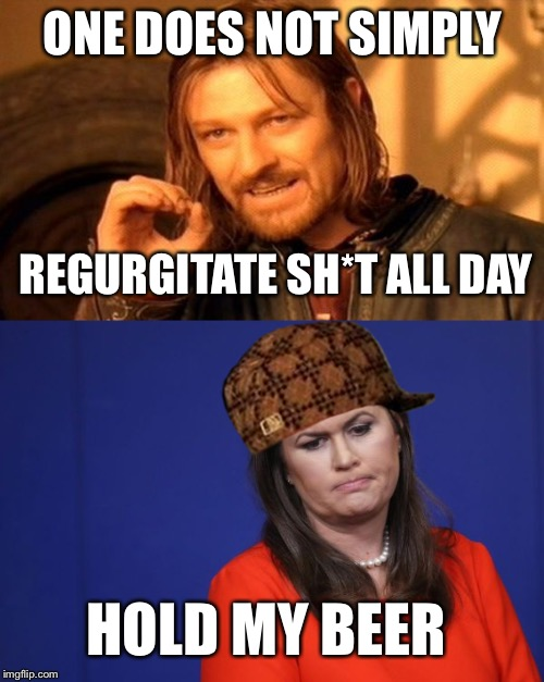 ONE DOES NOT SIMPLY REGURGITATE SH*T ALL DAY HOLD MY BEER | made w/ Imgflip meme maker