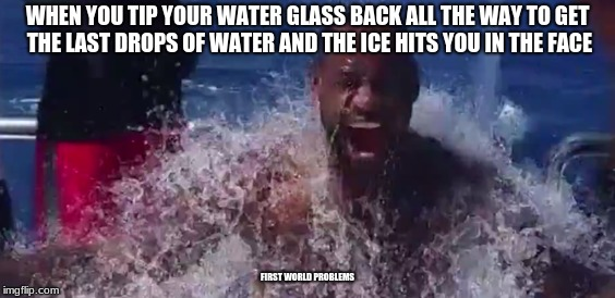 Accidental ice bucket challenge | WHEN YOU TIP YOUR WATER GLASS BACK ALL THE WAY TO GET THE LAST DROPS OF WATER AND THE ICE HITS YOU IN THE FACE FIRST WORLD PROBLEMS | image tagged in ice bucket challenge,water,accident,first world problems | made w/ Imgflip meme maker