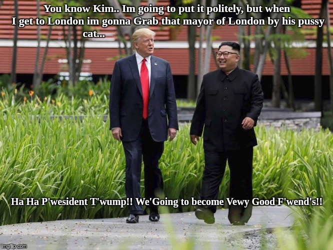 President Kim Jong Un and the mayor of LONDON  | You know Kim.. Im going to put it politely, but when I get to London im gonna Grab that mayor of London by his pussy cat... Ha Ha P'wesident | image tagged in president trump,kim jong un,sadiq khan | made w/ Imgflip meme maker