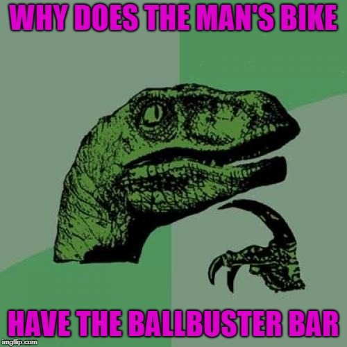Philosoraptor Meme | WHY DOES THE MAN'S BIKE HAVE THE BALLBUSTER BAR | image tagged in memes,philosoraptor | made w/ Imgflip meme maker