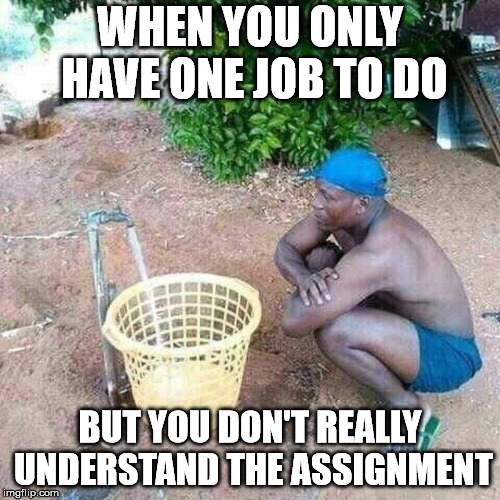 Sometimes you just have to ask for clarification. | WHEN YOU ONLY HAVE ONE JOB TO DO BUT YOU DON'T REALLY UNDERSTAND THE ASSIGNMENT | image tagged in memes | made w/ Imgflip meme maker
