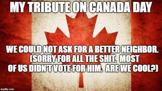 Canada | MY TRIBUTE ON CANADA DAY WE COULD NOT ASK FOR A BETTER NEIGHBOR.   (SORRY FOR ALL THE SHIT.  MOST OF US DIDN'T VOTE FOR HIM.  ARE WE COOL?) | image tagged in canada | made w/ Imgflip meme maker