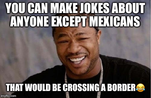 Yo Dawg Heard You Meme | YOU CAN MAKE JOKES ABOUT ANYONE EXCEPT MEXICANS THAT WOULD BE CROSSING A BORDER | image tagged in memes,yo dawg heard you,jokes,bad joke | made w/ Imgflip meme maker