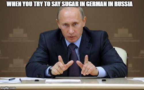 Vladimir Putin | WHEN YOU TRY TO SAY SUGAR IN GERMAN IN RUSSIA | image tagged in memes,vladimir putin | made w/ Imgflip meme maker