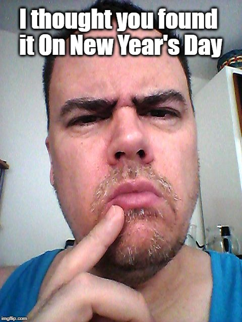 puzzled | I thought you found it On New Year's Day | image tagged in puzzled | made w/ Imgflip meme maker
