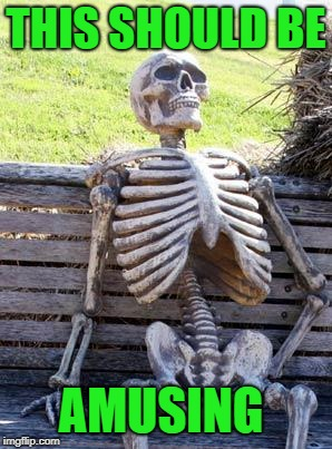 Waiting Skeleton Meme | THIS SHOULD BE AMUSING | image tagged in memes,waiting skeleton | made w/ Imgflip meme maker