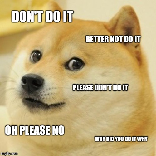 Doge Meme | DON'T DO IT BETTER NOT DO IT PLEASE DON'T DO IT OH PLEASE NO WHY DID YOU DO IT WHY | image tagged in memes,doge | made w/ Imgflip meme maker