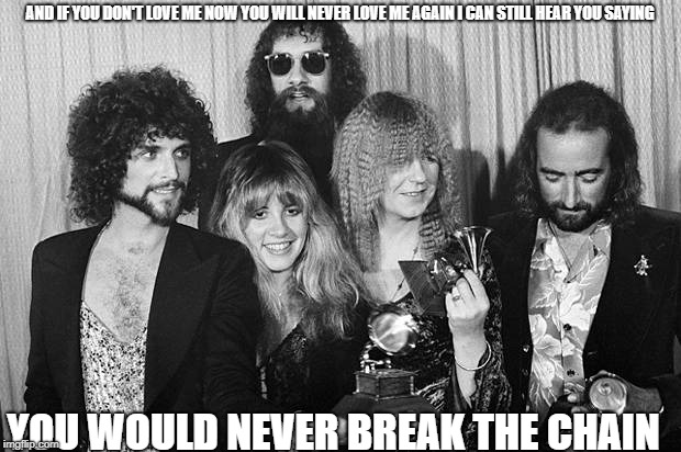 Fleetwood Mac | AND IF YOU DON'T LOVE ME NOW YOU WILL NEVER LOVE ME AGAIN I CAN STILL HEAR YOU SAYING YOU WOULD NEVER BREAK THE CHAIN | image tagged in fleetwood mac | made w/ Imgflip meme maker