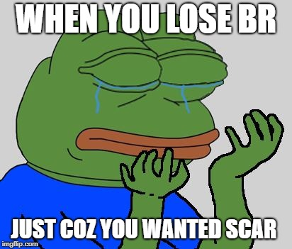 pepe cry | WHEN YOU LOSE BR JUST COZ YOU WANTED SCAR | image tagged in pepe cry | made w/ Imgflip meme maker