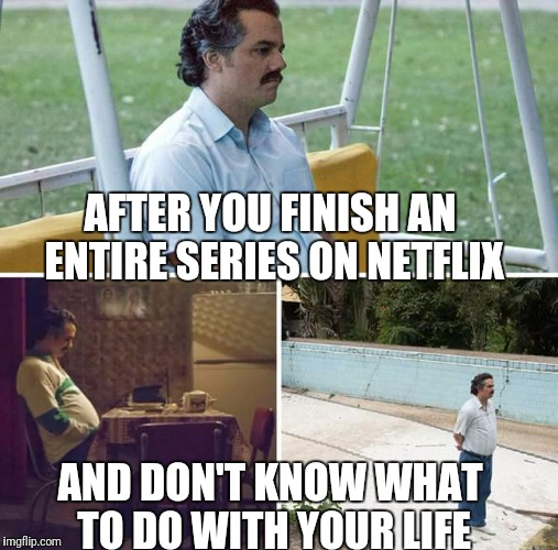 sad pablo escobar | AFTER YOU FINISH AN ENTIRE SERIES ON NETFLIX AND DON'T KNOW WHAT TO DO WITH YOUR LIFE | image tagged in sad pablo escobar | made w/ Imgflip meme maker