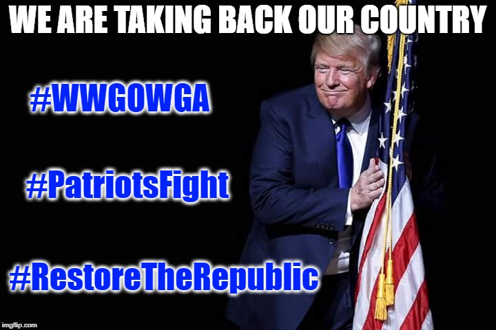 We Are Taking Back Our Country | WE ARE TAKING BACK OUR COUNTRY #WWGOWGA #PatriotsFight #RestoreTheRepublic | image tagged in trump flag,patriots,patriotism,the great awakening | made w/ Imgflip meme maker