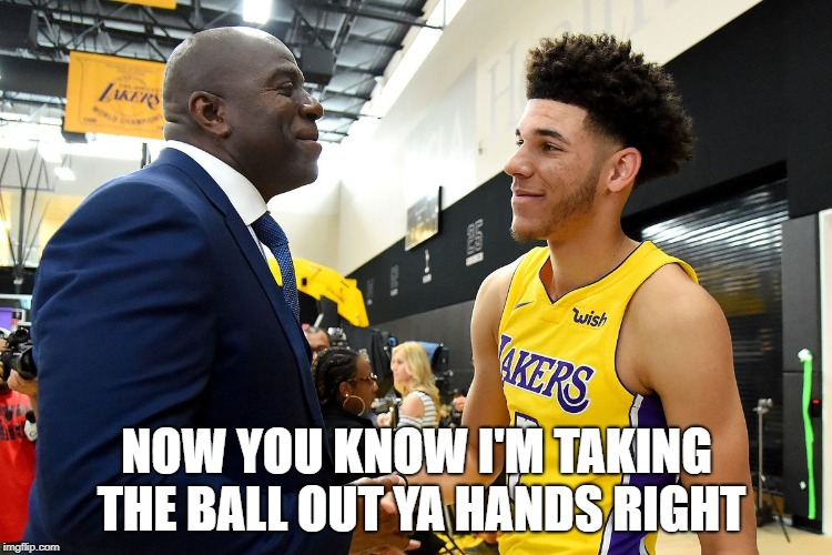 SHOWTIME PART III | NOW YOU KNOW I'M TAKING THE BALL OUT YA HANDS RIGHT | image tagged in lebron james,lakers,nba memes,magic | made w/ Imgflip meme maker
