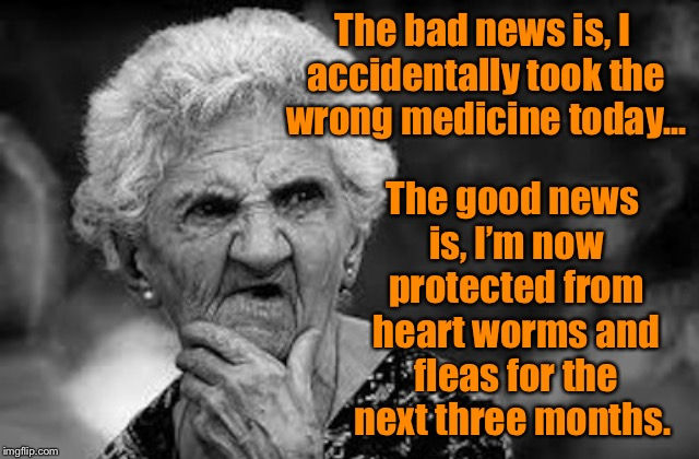 Wrong medicine  | The bad news is, I accidentally took the wrong medicine today... The good news is, I'm now protected from heart worms and fleas for the next | image tagged in thinking old woman,wrong medicine,funny memes,oops,fleas,confused | made w/ Imgflip meme maker