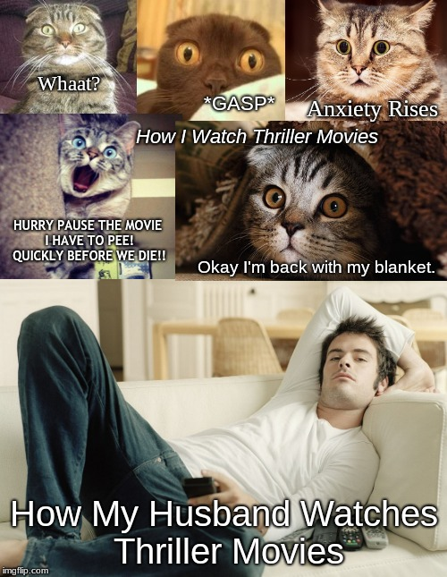 How I watch Thriller Movies | How I Watch Thriller Movies How My Husband Watches Thriller Movies Whaat? *GASP* Anxiety Rises HURRY PAUSE THE MOVIE I HAVE TO PEE! QUICKLY  | image tagged in thriller movie,husbands,liam neeson | made w/ Imgflip meme maker