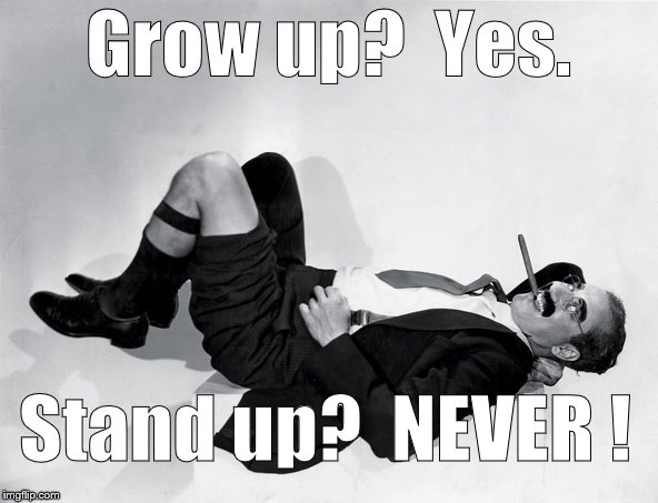 recumbent Groucho | Grow up?  Yes. Stand up?  NEVER ! | image tagged in recumbent groucho | made w/ Imgflip meme maker
