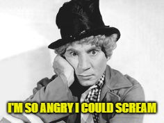 Harpo perplexed | I'M SO ANGRY I COULD SCREAM | image tagged in harpo perplexed | made w/ Imgflip meme maker