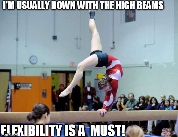 I'M USUALLY DOWN WITH THE HIGH BEAMS FLEXIBILITY IS A  MUST! | made w/ Imgflip meme maker