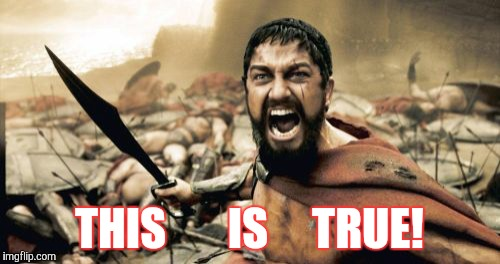 Sparta Leonidas Meme | THIS       IS     TRUE! | image tagged in memes,sparta leonidas | made w/ Imgflip meme maker