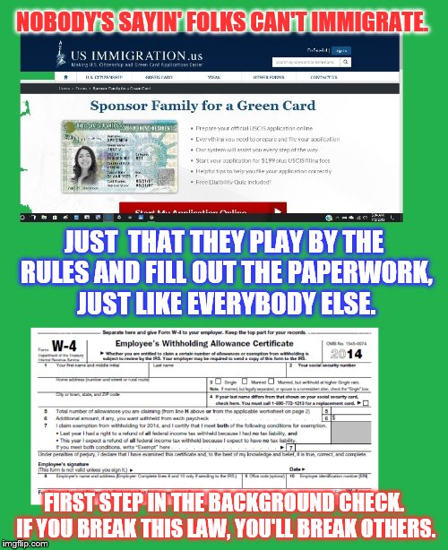 NOBODY'S SAYIN' FOLKS CAN'T IMMIGRATE. FIRST STEP IN THE BACKGROUND CHECK. IF YOU BREAK THIS LAW, YOU'LL BREAK OTHERS. JUST  THAT THEY PLAY  | image tagged in politics,rules | made w/ Imgflip meme maker