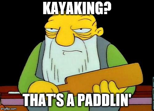 Kayaking Pun | KAYAKING? THAT'S A PADDLIN' | image tagged in memes,that's a paddlin' | made w/ Imgflip meme maker