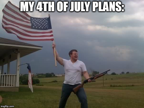 Redneck Shotgun and Flag | MY 4TH OF JULY PLANS: | image tagged in redneck shotgun and flag | made w/ Imgflip meme maker