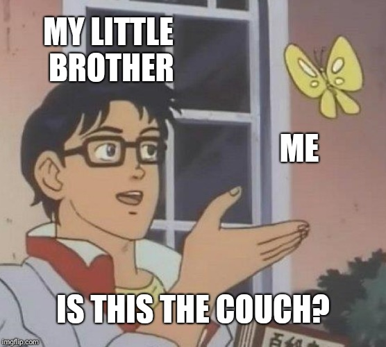 He straight up sits on me when I'm trying to watch youtube. | MY LITTLE BROTHER ME IS THIS THE COUCH? | image tagged in memes,is this a pigeon | made w/ Imgflip meme maker