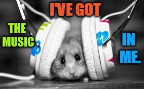 Hamster Weekend July 6-8 a bachmemeguy2, 1forpeace, and Shen_Hiroku_Nagato event | I'VE GOT IN ME. THE MUSIC | image tagged in memes,hamster weekend,listening,headphones,music,in me | made w/ Imgflip meme maker