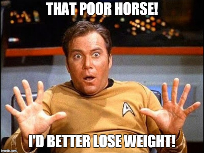 THAT POOR HORSE! I'D BETTER LOSE WEIGHT! | made w/ Imgflip meme maker