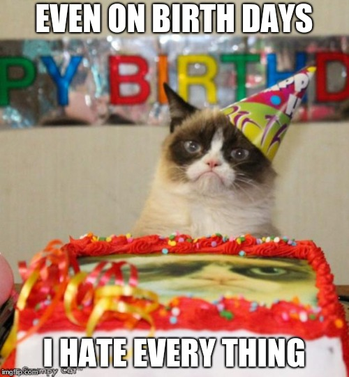 grumpy hate all  | EVEN ON BIRTH DAYS I HATE EVERY THING | image tagged in memes,grumpy cat birthday,grumpy cat,hate all | made w/ Imgflip meme maker