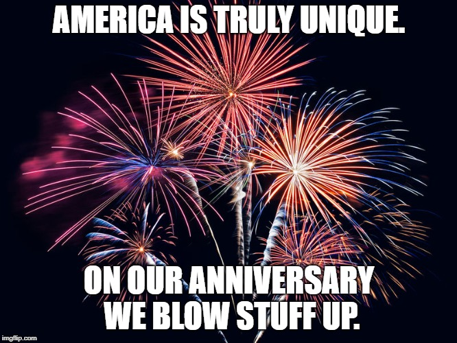 Happy 4th of July | AMERICA IS TRULY UNIQUE. ON OUR ANNIVERSARY WE BLOW STUFF UP. | image tagged in america,fourth of july | made w/ Imgflip meme maker