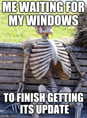 Waiting Skeleton Meme | ME WAITING FOR MY WINDOWS TO FINISH GETTING ITS UPDATE | image tagged in memes,waiting skeleton | made w/ Imgflip meme maker