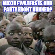 MAXINE WATERS IS OUR PARTY FRONT RUNNER? | image tagged in crazy eyes | made w/ Imgflip meme maker