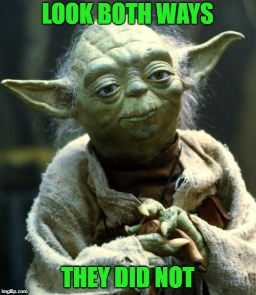 Star Wars Yoda Meme | LOOK BOTH WAYS THEY DID NOT | image tagged in memes,star wars yoda | made w/ Imgflip meme maker