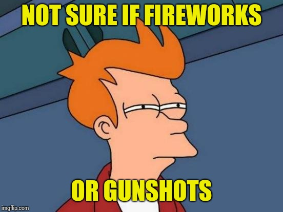 I DO work in the 'Hood afterall. | NOT SURE IF FIREWORKS OR GUNSHOTS | image tagged in memes,futurama fry | made w/ Imgflip meme maker