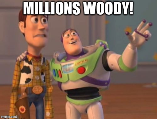 X, X Everywhere Meme | MILLIONS WOODY! | image tagged in memes,x x everywhere | made w/ Imgflip meme maker