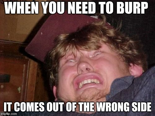 WTF Meme | WHEN YOU NEED TO BURP IT COMES OUT OF THE WRONG SIDE | image tagged in memes,wtf | made w/ Imgflip meme maker