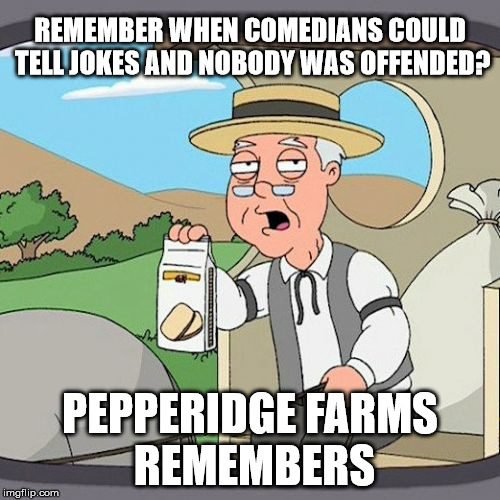 Pepperidge Farm Remembers Meme | REMEMBER WHEN COMEDIANS COULD TELL JOKES AND NOBODY WAS OFFENDED? PEPPERIDGE FARMS REMEMBERS | image tagged in memes,pepperidge farm remembers | made w/ Imgflip meme maker
