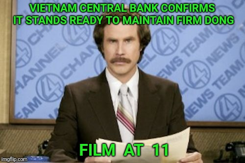 Actual headline on Zero Hedge | VIETNAM CENTRAL BANK CONFIRMS IT STANDS READY TO MAINTAIN FIRM DONG FILM  AT  11 | image tagged in ron burgundy,bank,money,news,anchorman | made w/ Imgflip meme maker