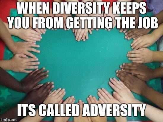 White, Black, Green, Red, Purple or Plaid | WHEN DIVERSITY KEEPS YOU FROM GETTING THE JOB ITS CALLED ADVERSITY | image tagged in diversity | made w/ Imgflip meme maker