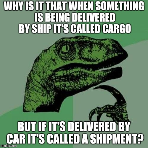 Philosoraptor Meme | WHY IS IT THAT WHEN SOMETHING IS BEING DELIVERED BY SHIP IT'S CALLED CARGO BUT IF IT'S DELIVERED BY CAR IT'S CALLED A SHIPMENT? | image tagged in memes,philosoraptor | made w/ Imgflip meme maker