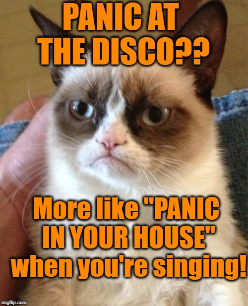 "Grumpy Cat Meme | PANIC AT THE DISCO?? More like ""PANIC IN YOUR HOUSE"" when you're singing! 