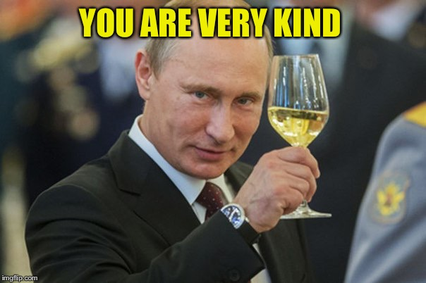 Putin Cheers | YOU ARE VERY KIND | image tagged in putin cheers | made w/ Imgflip meme maker