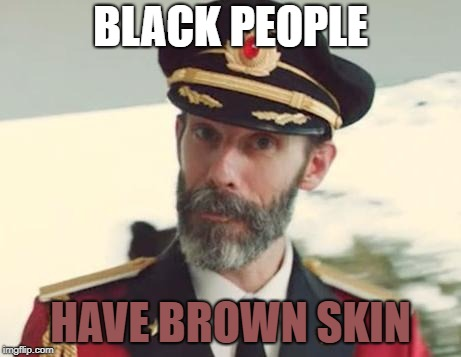 Captain Obvious | BLACK PEOPLE HAVE BROWN SKIN | image tagged in captain obvious,memes,black people | made w/ Imgflip meme maker